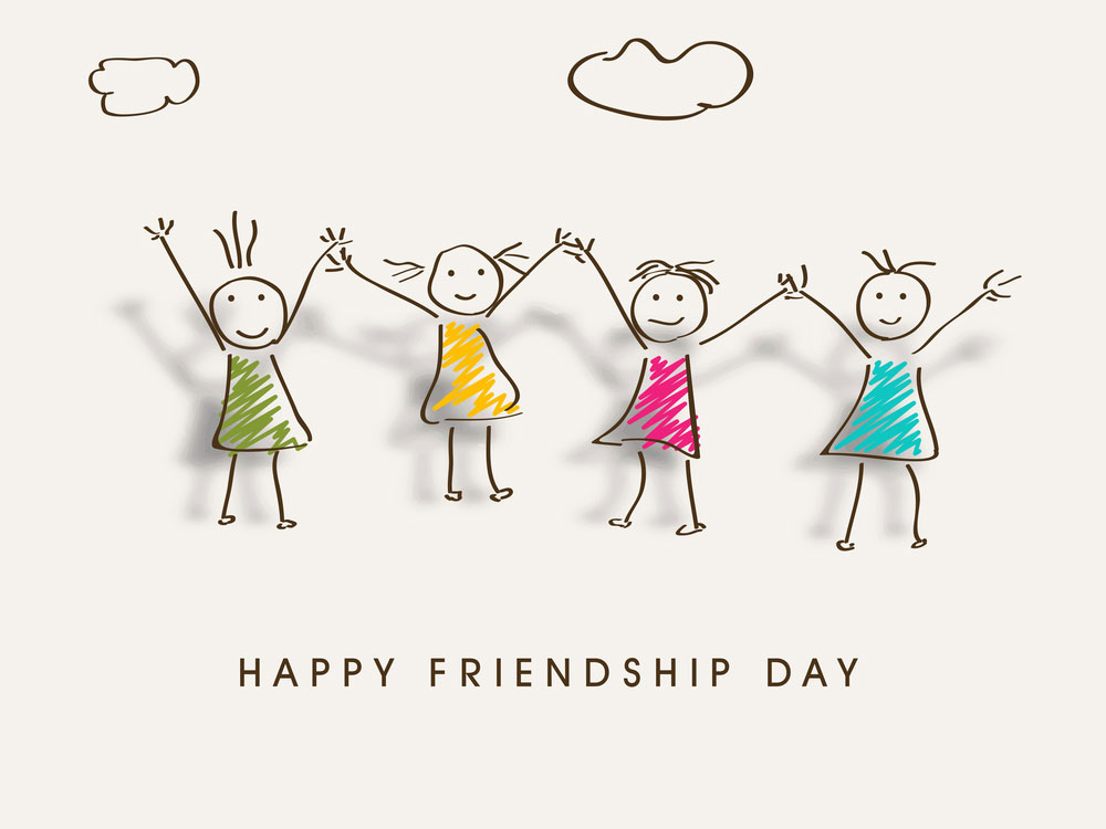 happy friendship day clip-art little girls